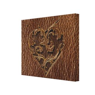 Leather-Look Heart Canvas Prints