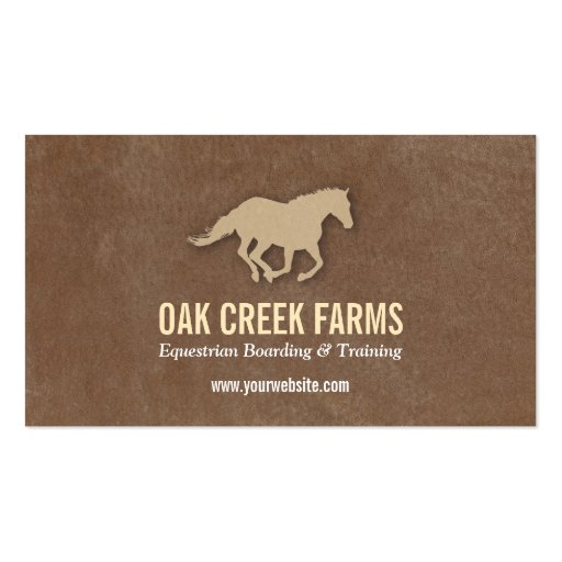 Create your own farrier business cards leather look horse imprint business cards reheart Gallery