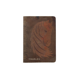 Leather Look Horse Passport Holder