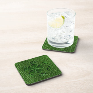 Leather-Look Irish CloverBall Beverage Coaster