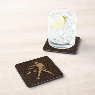 Leather-Look Libra Beverage Coasters