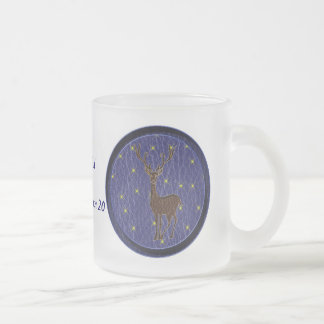 Leather-Look Native American Zodiac Deer Frosted Glass Coffee Mug