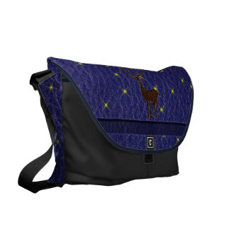 Leather-Look Native American Zodiac Deer Courier Bag