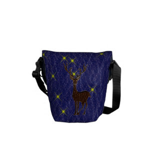 Leather-Look Native American Zodiac Deer Courier Bags