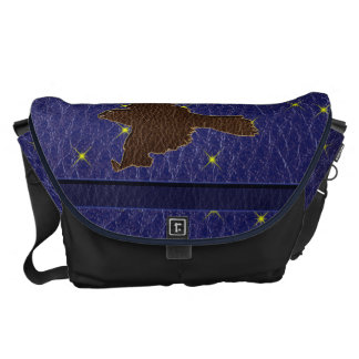 Leather-Look Native American Zodiac Falcon Courier Bags