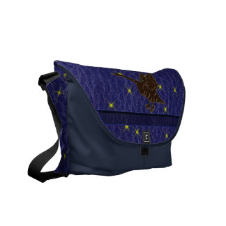 Leather-Look Native American Zodiac Goose Messenger Bags