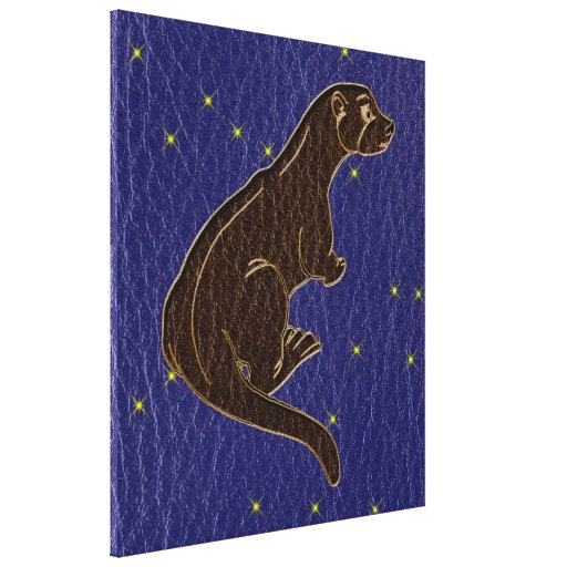 Leather-Look Native American Zodiac Otter Canvas Prints