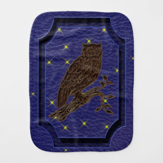 Leather-Look Native American Zodiac Owl Baby Burp Cloth