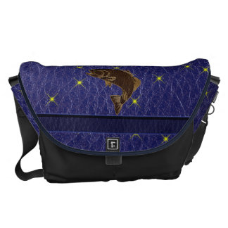 Leather-Look Native American Zodiac Salmon Courier Bag