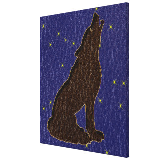Leather-Look Native American Zodiac Wolf Canvas Prints