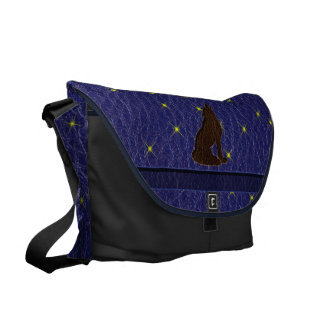 Leather-Look Native American Zodiac Wolf Courier Bags