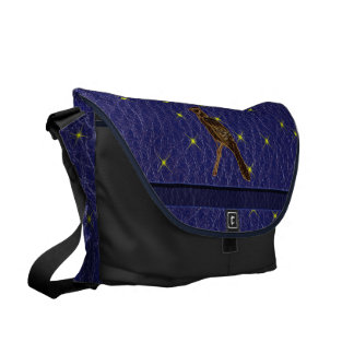 Leather-Look Native American Zodiac Woodpecker Messenger Bag