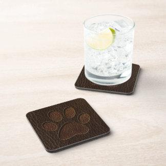 Leather-Look Paw Dark Beverage Coasters