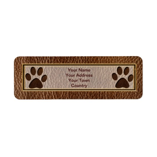 Leather-Look Paw Return Address Label