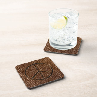 Leather-Look Peace Brown Coasters