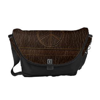 Leather-Look Peace Brown Dark Messenger Bag