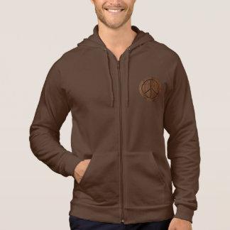 Leather-Look Peace Brown Hoodie