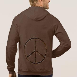 Leather-Look Peace Brown Hoodies