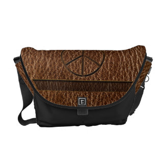Leather-Look Peace Brown Messenger Bags