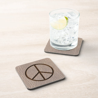 Leather-Look Peace Brown Soft Coasters