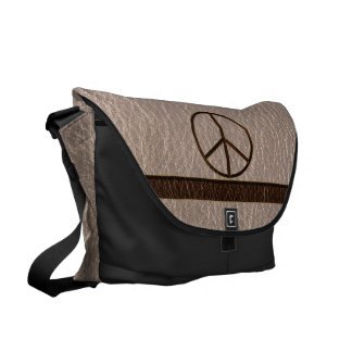 Leather-Look Peace Brown Soft Commuter Bag