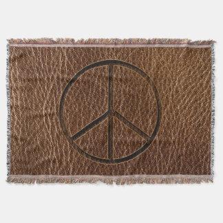 Leather-Look Peace Brown Throw Blanket