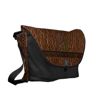 Leather-Look Peace Colour Courier Bag