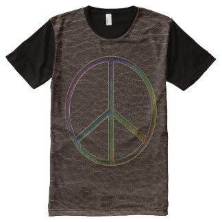 Leather-Look Peace Colour Dark All-Over Print T-Shirt