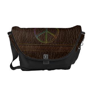 Leather-Look Peace Colour Dark Courier Bag