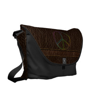 Leather-Look Peace Colour Dark Messenger Bags