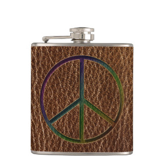 Leather-Look Peace Colour Hip Flask