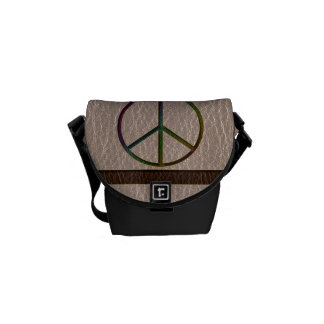 Leather-Look Peace Colour Soft Courier Bags
