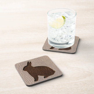 Leather-Look Rabbit Soft Drink Coasters
