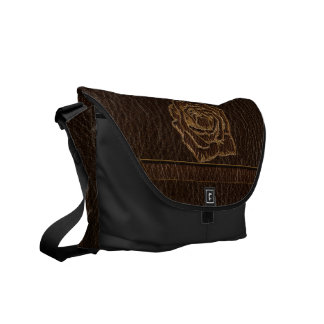 Leather-Look Rose Dark Courier Bags