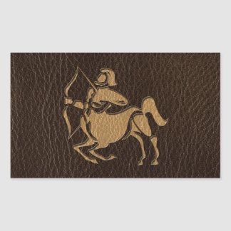 Leather-Look Sagittarius Rectangular Sticker