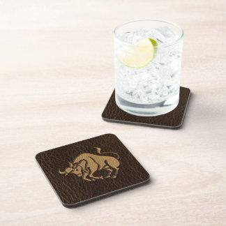 Leather-Look Taurus Drink Coasters