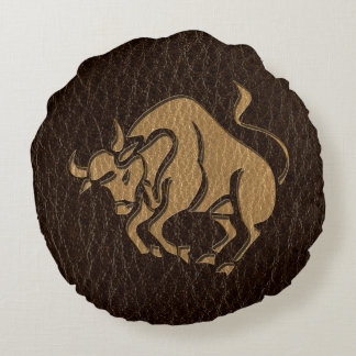 Leather-Look Taurus Round Cushion