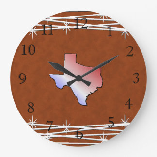 Leather Look Texas Clock