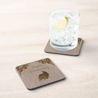 Leather-Look Thanksgiving 1 Beverage Coasters