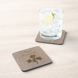 Leather-Look Thanksgiving 2 Beverage Coaster