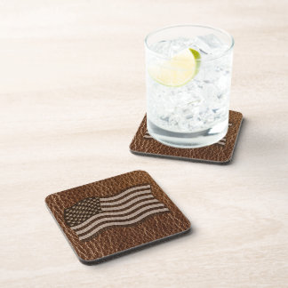 Leather-Look USA Flag Beverage Coasters