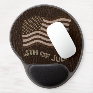 Leather-Look USA Flag Dark Gel Mouse Pad