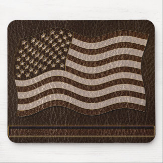 Leather-Look USA Flag Dark Mouse Pad