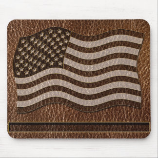 Leather-Look USA Flag Mouse Pad