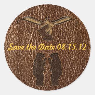 Leather-Look Wedding Round Sticker