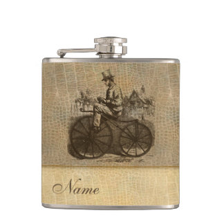 Leather look wintage classy old bike personalized flask