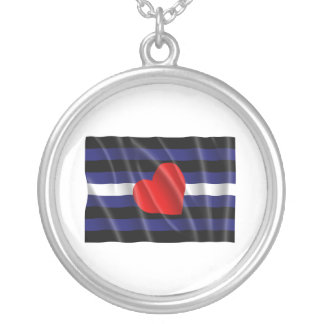 LEATHER PRIDE FLAG FLYING PERSONALIZED NECKLACE