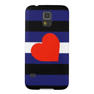 LEATHER PRIDE STRIPED HEART HORIZONTAL - 2014 PRID GALAXY S5 COVERS