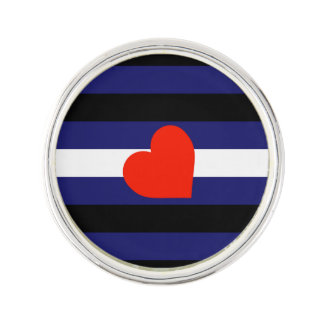 LEATHER PRIDE STRIPED HEART HORIZONTAL - 2014 PRID LAPEL PIN