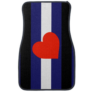 LEATHER PRIDE STRIPED HEART VERTICAL - 2014 PRIDE. CAR MAT